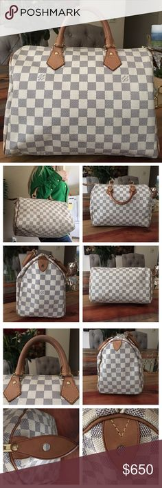 """AUTHENTIC LOUIS VUITTON DAMIER AZUR SPEEDY 30 100% Authentic Louis Vuitton Damier Azur Speedy 30 Boston Bag. Beautiful bag in good  condition. Damier Canvas has no scratches or tears. Piping is intact. Beautiful honey patina  on handles,  no cracks 👍🏻 Minor stain where handle attaches to the bag (Pic 3) Hardware has a golden tone. Zipper works properly. There's stains and pen marks inside the bag. Pocket is clean and in good shape. Minor storage smell. W13.7""""xH8.2""""xD6.7"""" No trades. Will go…"""