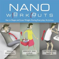 """""""Nano Workouts : get in shape and lose weight during everyday activities"""" by Joakim Christoffersson. """"Presents a series of simple exercises that have been adapted from daily activities, including toothbrush squats, drop the soap, and bed pigeon. Ab Workout In Bed, Cardio, Office Exercise, Office Workouts, Everyday Activities, Daily Activities, Weight Loss Challenge, Squat Challenge, Easy Workouts"""