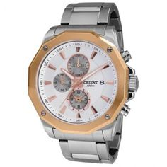 [RicWatchMob] Relógio Masc Orient Cronógrafo, Pulseira de Aço, Caixa de 4.5 cm, R$224,91