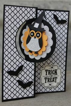 Halloween Card Idea- essential products for this project can be found on Crafting.co.uk - for all your crafting needs. - handmade Halloween card ... Trick or Treat... black and white with a pop of orange ... two step owl punch dressed as a pilgrim ... tooo cute!!