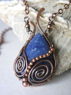 Handmade wire wrapped Copper necklace by lesbijouxdeSylvie on Etsy