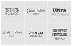 grid showing six font pairings