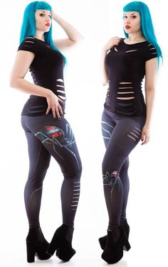 Gothic Black Widow Leggings - Necessary Evil