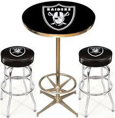 [[start Tab]] Description The Oakland Raiders NFL Pub Table Set Includes  Theu2026