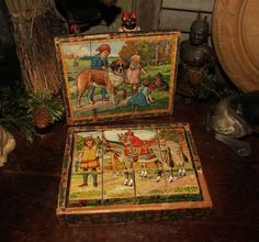 Victorian Lithograph Wood Block Puzzle in Box