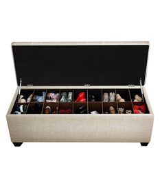 Lightbulb moment! Seating for the end of the bed AND storage for your shoes! In like 15 colors... OR diy shoe storage trunk From a thrifted chest or bench! Balboa Sand Shoe & Storage Bench on #zulily today!