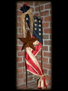 **Updated Picture** Adorned with a tea-stained *replica* American flag and accented with a rusty star, this ladder will be a great addition to any Americana home decor or any front porch. This American Flag ladder measures approx. Patriotic Crafts, July Crafts, Holiday Crafts, Diy And Crafts, Patriotic Bunting, Patriotic Wreath, Fourth Of July, 4th Of July Wreath, Americana Home Decor