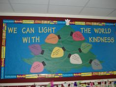 The Crafty Counselor--have kids write about our Christmas outreach projects on the light bulbs & make bulletin board with them