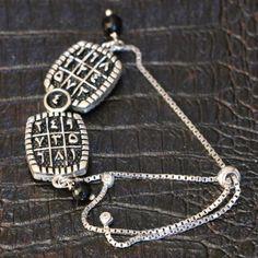 Kişiye Özel Müselles / Vefk Gümüş Bileklik - Dört Yönlü  (Gümüş Kordon)