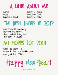 Printable New Year's Interview - fun way to learn more about your kids