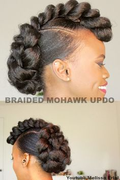 Hair updo style with a braided mowhawk look for natural hair Cute Natural Hairstyles, Natural Hair Braids, Long Natural Hair, Afro Hairstyles, Summer Hairstyles, Natural Hair Styles, Long Hair Styles, Ethnic Hairstyles, Hairstyles 2018