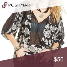 Free People Lace Inset Peasant Blouse Worn once and in excellent condition! Free People Tops Blouses
