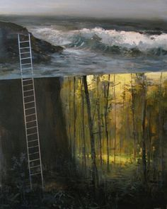 The Descent to the Submerged Forest. Painting: Jeremy Miranda  #subfoldr @SUBFOLDR