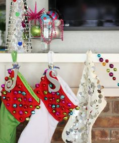 Hi Sugarplum | Colorful Christmas Mantels