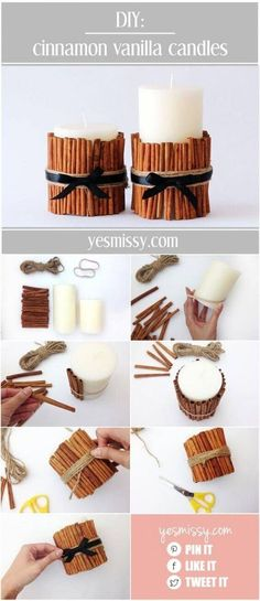 DIY decorative candle tutorial will have your home smelling like the holidays DIY Cinnamon Vanilla Candles - 15 Best DIY Ideas to Winterize Your Home for Christmas Diy Christmas Gifts, Holiday Crafts, Christmas Decorations, Christmas Wrapping, Home For Christmas, Halloween Decorations, Christmas Store, Spring Crafts, Christmas Christmas