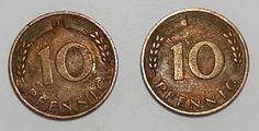 Germany 10 Pfennig 1950 J Coin West  German G Deutschland 2 Rare Coins