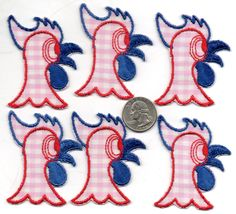 Lot of 6 - Vintage Silly CHIICKEN or ROOSTER Patches APPLIQUES - New Old Stock - nos Red Pink Blue by DebsFunkyJunk on Etsy
