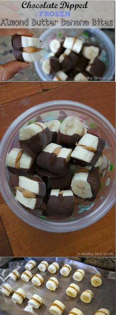 Frozen Chocolate-Dipped Peanut Butter Banana Bites - quick and easy healthy snack! (Think of using Nutella instead!)