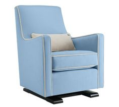 luca glider chair in light blue withy stone piping will add the perfect pop of color to your little man's nursery! Modern nursery furniture by Monte Design