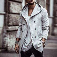 British Men's Hooded Wool Coat British Men's Hooded Wool Coat – bonniechic Hooded Wool Coat, Mens Wool Coats, Wool Overcoat, Rugged Style, Under Armour, Trench Coat Men, Pea Coat Men, Fashion Night, Fashion Edgy