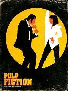 Alternatieve Filmposter voor Pulp Fiction. Vooral zwart waardoor de kleuren geel en wit eruit springen. De titel staat links onderaan en er is een speciaal effect op toegepast.