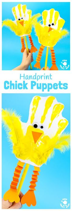 Handprint Chick Puppets are a great Spring craft or Easter craft for kids. This chick craft looks super cute and kids can actually play with them too! Such a fun handprint craft to encourage dramatic play and story telling. #CampArtAndCraft