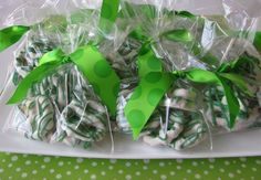 pre-dipped white chocolate pretzels that can be found everywhere these days... add a little holiday color with some green candy coating melted and drizzled on top. Put them in a cello bag, tie a little ribbon on top, and in minutes you've got a sweet St. Patrick's Day treat.