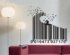 100x105cm Surf Barcode  Nature Vinyl Wall Paper Decal Art Sticker Q311
