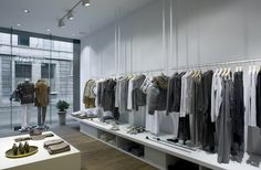 Extensive presentation areas in CLOSED store Antwerp, Belgium, with interior design by PHILIPP MAINZER (2007). Photo: Closed. #fashion #boutique