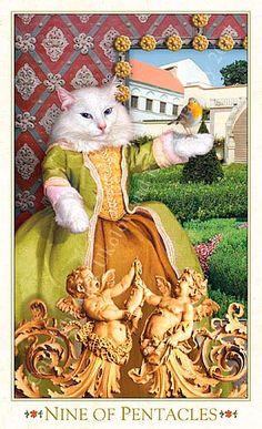 Tarot des chats baroques - Neuf de Deniers