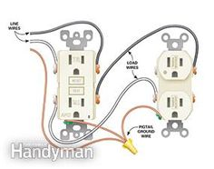 double outlet box wiring diagram in the middle of a run in one box rh pinterest com electrical wiring outlet to switch to light electrical wiring of outlet