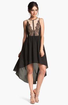 En Creme Lace Illusion High/Low Dress