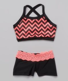 Another great find on #zulily! Coral Chevron Crisscross Crop Top & Black Lace Shorts - Girls #zulilyfinds