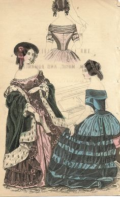 """French Fashion Plate - c1850 - """"""""WOMAN IN BLUE DRESS AT PIANO"""""""" - H-C Lithograph"""