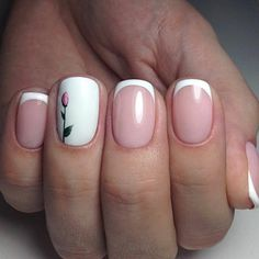 ▷ 1001 + ideas sobre uñas francesas decoradas 2018 elegant french manicure design nude color background, thin white line, blank ring finger with rose drawing French Manicure Gel, French Nails, French Manicures, Spring Nail Art, Spring Nails, Cute Nails, Pretty Nails, Wedding Nails Design, Stylish Nails