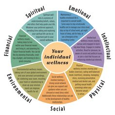 When we look at the holistic wellness wheel our aim is to promote balance between the seven areas of life: emotional social occupational/financial intellectual physical environmental and spiritual.