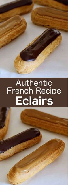 Eclairs are traditional French pastries based on pâte à choux filled with pastry cream that is typically flavored with chocolate or coffee. Desserts France: Chocolate and Coffee Eclairs Pastry Recipes, Baking Recipes, Snack Recipes, Baking Ideas, Chocolate Eclair Recipe, Eclair Recipe French, Chocolate Eclairs, Chocolate Coffee, Eclair Filling Recipe