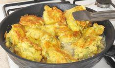 Tarif için Malzemeler 1 kilo küçük boy patates 2 tane yumurta 1,5 yemek kaşığı yoğurt 1,5 yemek kaşığı un 1 tatlı kaşığı tuz 1 tatlı kaşığı kırmızı pul biber 7-8 dal dere otu Kızartmak için bol sıvı y Cauliflower, Brunch, Pasta, Meat, Chicken, Vegetables, Cooking, Breakfast, Food