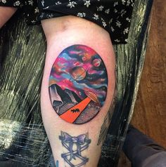 Colorful UFO Tattoo by Andy Marsh