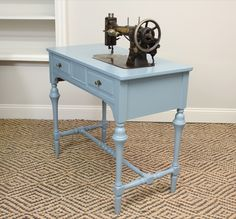 blue.lamb furnishings : Blue Vintage Desk/Console/Sewing Table - SOLD