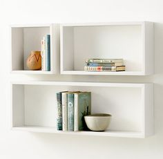 RH TEEN's Rectangle Wood Curio Shelf - White:Crafted of solid wood in a variety of geometric configurations, the clean lines of our shelving yield center stage to the items stored within. Creative Bookshelves, Bookshelves In Bedroom, Floating Bookshelves, Wooden Floating Shelves, Bookshelf Design, Box Shelves, Wall Shelves, Shelving, American Girl Storage