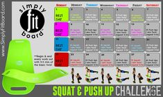 Simply fit board squat & push up challenge Wellness Fitness, Fitness Tips, Health Fitness, Fitness Challenges, Fitness Journal, Fitness Exercises, Body Fitness, Fitness Goals, Simple Fit Board