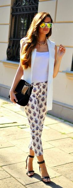 Chic White Vest with Print Pant and Black Heels | ...