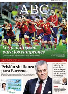 Los Titulares y Portadas de Noticias Destacadas Españolas del 28 de Junio de 2013 del Diario ABC ¿Que le parecio esta Portada de este Diario Español?