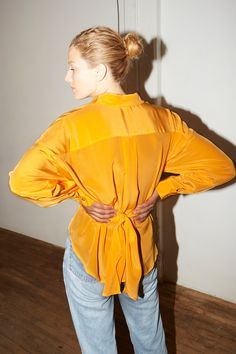 Citric Orange Silk Lola Blouse