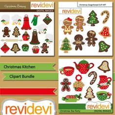 Christmas clip art bundle featuring kitchen theme and foods. This xmas clipart bundle includes 3 packs of cute digital graphics. Cute gingerbread cookies, kitchen utensils, xmas tea party set, are among the graphics.Within your purchase, you will get these 3 sets:1.