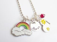 Personalized Rainbow Charm Necklace for Colorful Sunshine Girls, Retro from the belle bambine children's line.