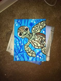 Squirt from Disney Pixar's Finding Nemo inspired painting 16x20 canvas
