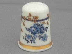 Royal Worcester Thimble Historic Pattern Dry Blue Flowers   eBay