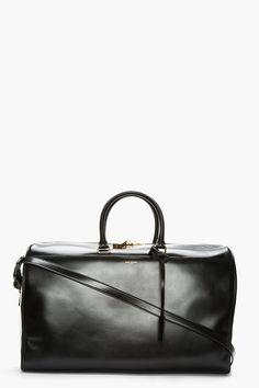 SAINT LAURENT Black Leather Bo Duffle Bag
